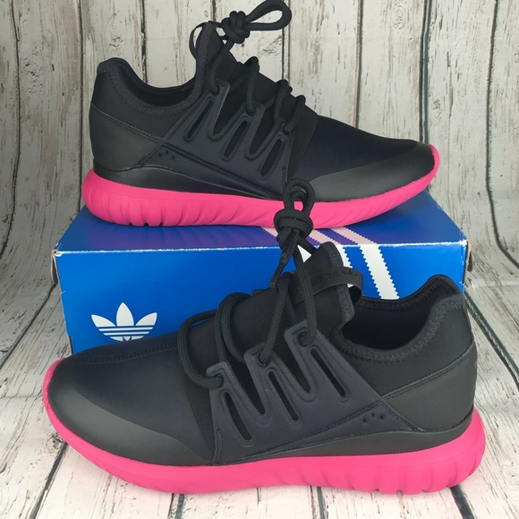 new york 9e867 35cc6 ADIDAS Tubular Radial EQT Black Pink Mens Size 10